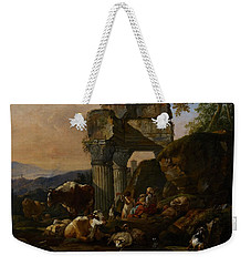 Roman Landscape With Cattle And Shepherds Weekender Tote Bag by Johann Heinrich Roos