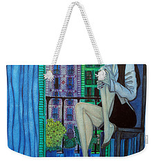 Weekender Tote Bag featuring the painting Romantic Woman At Balcony by Don Pedro De Gracia