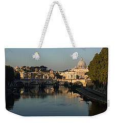 Rome - Iconic View Of Saint Peter's Basilica Reflecting In Tiber River Weekender Tote Bag