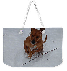 Romp In The Snow Weekender Tote Bag by Mim White