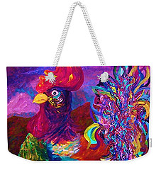 Weekender Tote Bag featuring the painting Rooster On The Horizon by Eloise Schneider