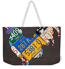 Rooster Recycled License Plate Art On Gray Wood Weekender Tote Bag