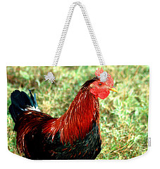 Weekender Tote Bag featuring the photograph Rooster Red by Lesa Fine