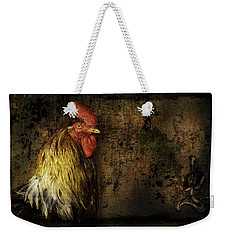 Weekender Tote Bag featuring the mixed media Rooster With Brush Calligraphy Loyalty by Peter v Quenter