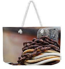 Weekender Tote Bag featuring the photograph Rope And Chain by Wendy Wilton