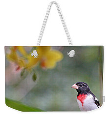 Rose Breasted Grosbeak Photo Weekender Tote Bag by Luana K Perez