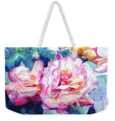 Weekender Tote Bag featuring the painting Pink Rose Bush by Greta Corens