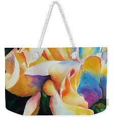 Weekender Tote Bag featuring the painting Rose Cluster Half by Kathy Braud