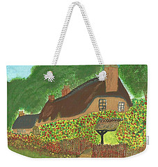 Weekender Tote Bag featuring the painting Rose Cottage by Tracey Williams