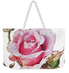Watercolor Of Pink Rose Grace Weekender Tote Bag