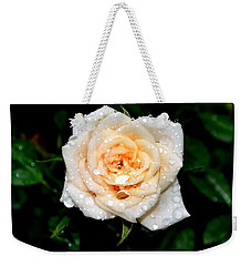 Weekender Tote Bag featuring the photograph Rose In The Rain by Deena Stoddard