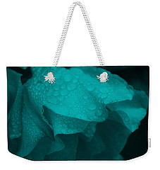 Weekender Tote Bag featuring the photograph Rose In Turquoise by Jocelyn Friis