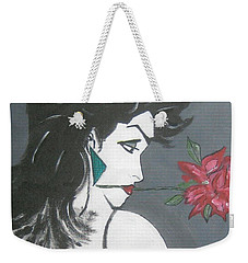 Weekender Tote Bag featuring the painting Rose Lady by Nora Shepley