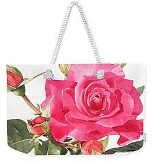 Watercolor Red Rose Margaret Weekender Tote Bag