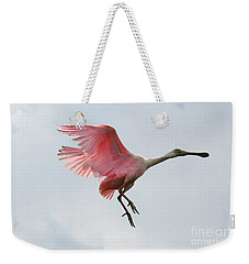 Roseate Spoonbill In Flight Weekender Tote Bag by Carol Groenen