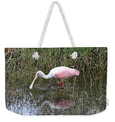 Roseate Spoonbill Reflection Weekender Tote Bag by Carol Groenen