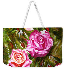 Weekender Tote Bag featuring the painting Roses by Harsh Malik