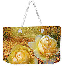 Roses In The Woods In Autumn Weekender Tote Bag by Annie Zeno