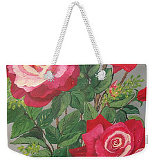 Weekender Tote Bag featuring the painting Roses N' Rain by Sharon Duguay