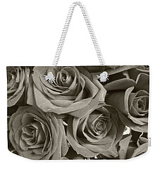 Weekender Tote Bag featuring the photograph Roses On Your Wall Sepia by Joseph Baril