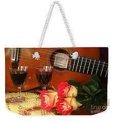 Weekender Tote Bag featuring the photograph Guitar 'n Roses by The Art of Alice Terrill