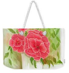 Rosy Pink Pedals Weekender Tote Bag by Sena Wilson