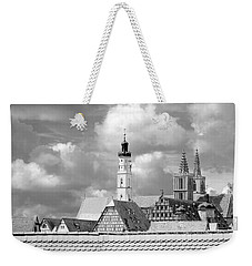 Rothenburg Towers In Black And White Weekender Tote Bag by Corinne Rhode