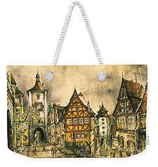 Rothenburg Bavaria Germany - Romantic Watercolor Weekender Tote Bag