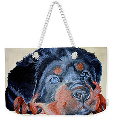 Weekender Tote Bag featuring the painting Rottweiler Puppy Portrait by Tracey Harrington-Simpson