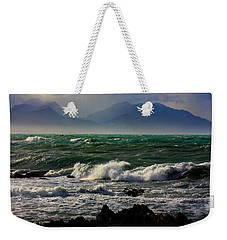 Weekender Tote Bag featuring the photograph Rough Seas Kaikoura New Zealand by Amanda Stadther