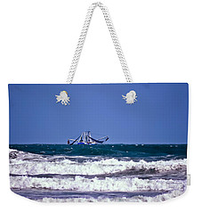 Weekender Tote Bag featuring the photograph Rough Seas Shrimping by DigiArt Diaries by Vicky B Fuller