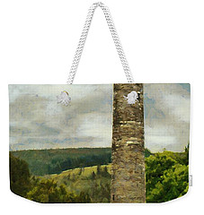 Weekender Tote Bag featuring the painting Round Tower At Glendalough by Jeff Kolker