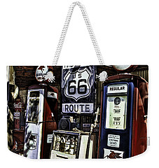 Weekender Tote Bag featuring the painting Route 66 by Muhie Kanawati