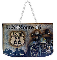 Route 66 Odell Il Gas Station Motorcycle Signage Weekender Tote Bag by Thomas Woolworth