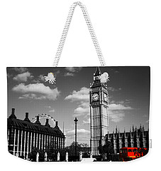 Routemaster Bus On Black And White Background Weekender Tote Bag