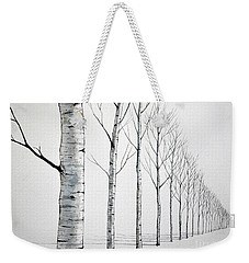 Row Of Birch Trees In The Snow Weekender Tote Bag