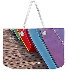 Weekender Tote Bag featuring the photograph Row Of Colorful Boats Art Prints by Valerie Garner
