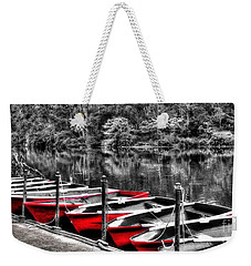 Row Of Red Rowing Boats Weekender Tote Bag by Kaye Menner