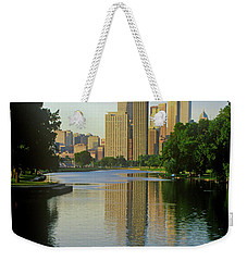 Rower On Chicago River With Skyline Weekender Tote Bag