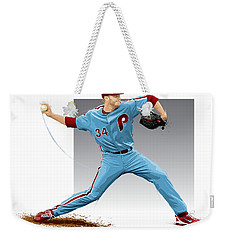 Weekender Tote Bag featuring the digital art Roy Halladay by Scott Weigner