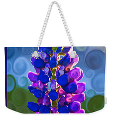 Weekender Tote Bag featuring the painting Royal Purple Lupine Flower Abstract Art by Omaste Witkowski