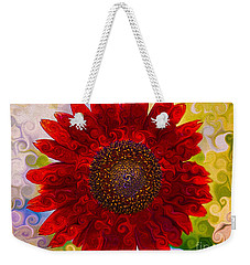 Weekender Tote Bag featuring the painting Royal Red Sunflower by Omaste Witkowski