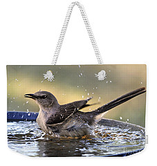 Weekender Tote Bag featuring the photograph Rub-a-dub-dub Mockingbird by Nava Thompson