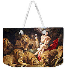 Weekender Tote Bag featuring the photograph Rubens' Daniel In The Lions' Den by Cora Wandel