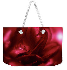 Ruby Red  Dahlia With Bokeh Weekender Tote Bag