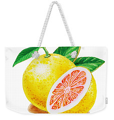 Ruby Red Grapefruit Weekender Tote Bag by Irina Sztukowski