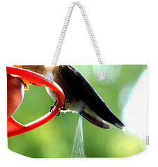 Weekender Tote Bag featuring the photograph Ruby-throated Hummingbird Pooping by Rose Santuci-Sofranko