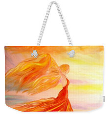 Weekender Tote Bag featuring the painting Running Along The Beach by Lilia D