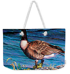 Weekender Tote Bag featuring the painting Running For Cover by Craig T Burgwardt