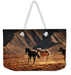 Weekender Tote Bag featuring the photograph Running Free by Priscilla Burgers
